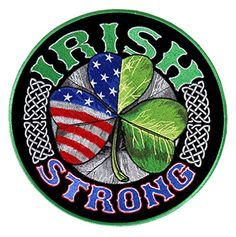 "[Single Count] Custom and Unique (4"" inch) ""Irish"" Round Irish Strong American Flag Three Leaf Clover Iron On Embroidered Applique Patch {Black, Green, Red, White and Blue Colors} mySimple Products http://www.amazon.com/dp/B013PRG0MQ/ref=cm_sw_r_pi_dp_79AGwb001WA40"