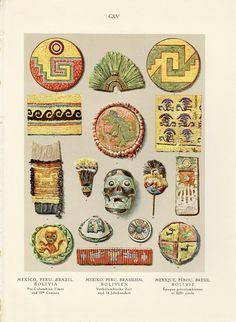 Antiguo ornamento precolombino impresión Artes artesanías México Perú Brasil…