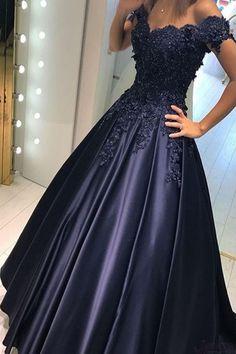 Navy Blue Prom Dresses,Long Prom Dresses,Evening Dresses,Satin Prom