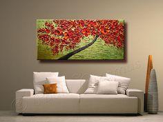 ORIGINAL Tree Painting 48 Abstract Contemporary Red por Artcoast