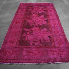 5x9 4x9 Overdyed Vintage Hot Pink Floral Karabagh Rug woh-2644