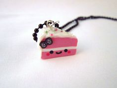Kawaii Pink Cake Slice Charm Necklace by DoodieBear on Etsy, $10.00