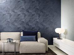 Drapery Fabric, Curtains, Interior Walls, Interior Design, Wallpaper 2016, Wall Treatments, Monochrome, Dark Blue, Furniture Design