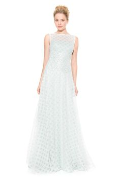 Lattice Tulle Gown with Hand Beaded Lace Applique | Tadashi Shoji
