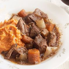 Make ordinary slow cooker pot roast extraordinary with the help of a little espresso powder, brown sugar, and red wine. Ladle over fluffy sweet potatoes for a warm, filling meal that's ready when you are./