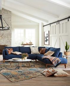 Blue Couch Living Room, Living Room Sectional, Boho Living Room, Fabric Sectional, Brown And Blue Living Room, Blue Living Room Furniture, Family Furniture, Modern Sectional, Apartment Furniture