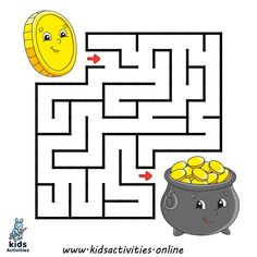 Labirinto quadrato gioco per bambini. Mazes For Kids Printable, Worksheets For Kids, Kids Mazes, Free Printable, Kids Puzzles, Maze Games For Kids, Kids Puzzle Games, Maze Drawing, Diy Busy Books