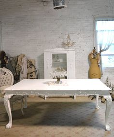 Dining Table Painted Cottage Chic Shabby White French Dining Table TBL213