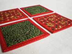 Christmas Coaster or Candle Mat Set  Quilted by PatchworkMill, $15.00