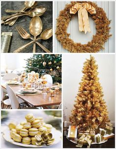 you can spray paint your christmas tree gold for an all out metallic. Black Bedroom Furniture Sets. Home Design Ideas