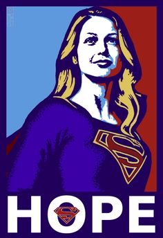 Melissa Benoist as Supergirl.  The S logo is the Kryptonian sign for HOPE (as well as being the coat of arms for the House of El.)
