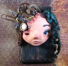 Polymer Clay Mixed Media Sculpture, Wall, Fine Art, Assemblage, Fantasy, Horror, Sci-fi Girl, OOAK Creepy Found Object Doll, Weird, 5 inches on Etsy, $200.00