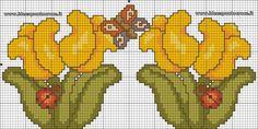 BORDURA TULIPANI THUN SCHEMA PUNTO CROCE Cross Stitch Flowers, Cross Stitch Patterns, Beading Patterns, Blackwork, Bowser, Diy And Crafts, Projects To Try, Embroidery, Swedish Weaving