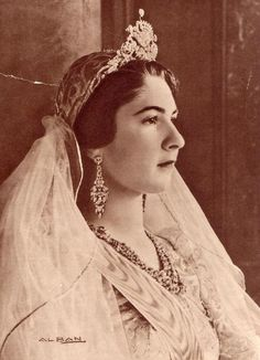 Official wedding portrait of Queen Farida of Egypt, spouse of King Farouk I - 1938.