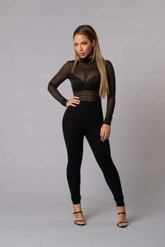 - Available in Black and White - Mock Neck - Long Sleeve - Top Striped Mesh - Skinny Leg - Open Back - Bottom Back Zipper - Made in USA - 97% Polyester 3% Spandex