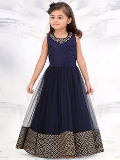 737208fcb5 G3 Exclusive Navy Net Party Wear Gown  Gown Kids Party Wear Dresses