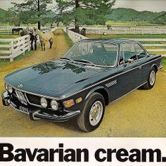 old ads, gold! Bmw E9, Bmw Classic Cars, Classic Car Show, Chrysler Convertible, E46 Touring, Classic Motors, Car Advertising, Old Ads, Bmw Cars