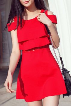 Trendy Flounce Round Collar Solid Color Short Sleeve Dress For Women