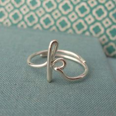 Lowercase cursive initial ring in sterling silver. This is the newest version of my popular initial ring! These rings are cast in sterling silver from my originals. Wire Rings, Wire Jewelry, Jewelry Box, Jewelry Accessories, Jewelry Making, Jewelry Rings, Jewlery, K Ring, The Bling Ring