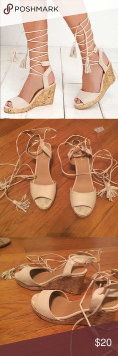 Lace up wedges Lace up wedges from lulus ! Worn twice Lulu Shoes Wedges