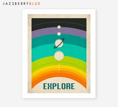 SOLAR SYSTEM Colorful Retro Pop Art for the Home by JazzberryBlue