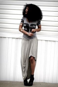 heather gray Ross top - periwinkle maxi thrifted skirt - black Ebay accessories