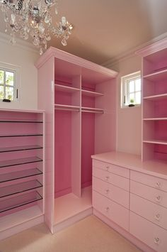 Custom Closet - Design photos, ideas and inspiration. Amazing gallery of interior design and decorating ideas of Custom Closet in closets, nurseries by elite interior designers. Pink Closet, Pink Wardrobe, Closet Small, Glam Closet, Wardrobe Closet, Classy Closets, Dream Closets, Girls Dream Closet, My New Room