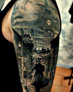 Realistic picture image tattoo on upper sleeve
