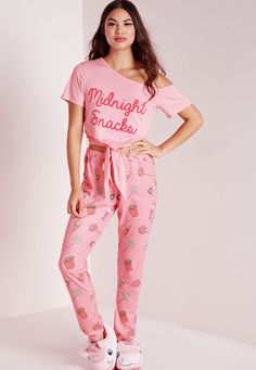 407686f1af Missguided - Midnight Snack Pajama Set Pink Cute Pjs
