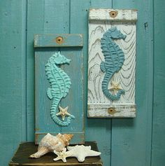Seahorse Starfish Sign Wall Art Beach House Decor.