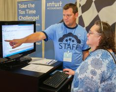 Intuit's Trae Harris helps participants get ready to go in the Tax Time Challenge. Enrolled Agent, Tax Advisor, Tax Accountant, Us Tax, Event Marketing, Trade Show, New Jersey, Accounting, Challenges