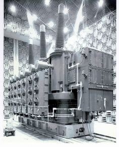 unit in Building for Sound Test courtesy of General Electric Company General Electric, Electric Power, Electrical Substation, Electric Company, Tech House, Industrial Photography, The Old Days, High Voltage, Zeppelin