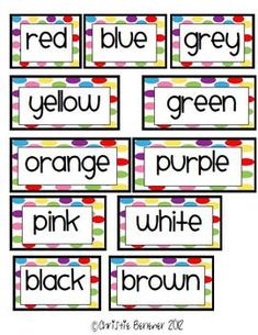 Bright Dots Color Words for Word Wall - Freebie