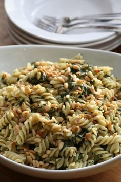 pasta with feta, spinach and pine nuts