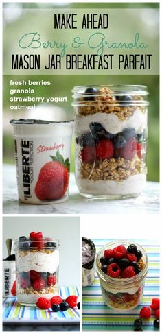 5 Make-Ahead Mason Jar Breakfast Parfait Recipes {with Publix Liberté Yogurt + . 5 Make-Ahead Einmachglas Frühstück Parfait Rezepte {mit Publix Liberté Joghurt + Cash Giveaway} Mason Jar Breakfast, Mason Jar Lunch, Mason Jar Meals, Meals In A Jar, Mason Jars, Breakfast Parfait, Yogurt Breakfast, Mason Jar Recipes, Snack Jars