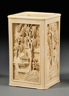 Ivory Brush Pot, China, 19th century, square, each panel finely carved in high relief depicting figures in various landscapes with pavilions and cottages, ht. 5 7/8 in.
