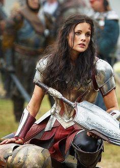 Women Fighters in Reasonable Armor, dark brown, black hair, knight, shield, sword, vanbraces, vangaurds, turnament