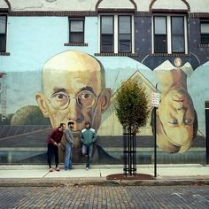 American Gothic style mural.