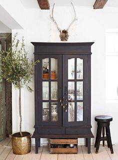 Interior decorating styles 442478732124881011 - Indoor olive tree with vintage cabinet eclectic style on Thou Swell Kevin O'Gara Style At Home, Style Uk, Indoor Olive Tree, Sweet Home, Home And Deco, Eclectic Style, Painted Furniture, Painted Wood, Eclectic Furniture