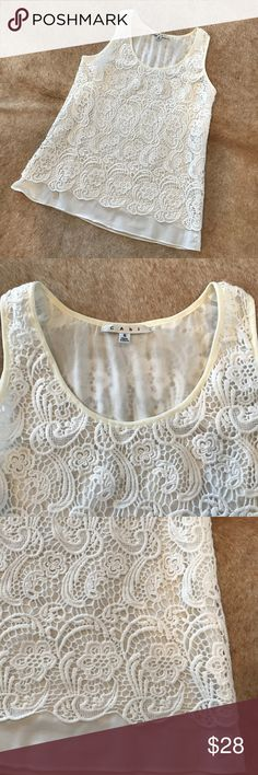 """CAbi white lace overlay top Small CAbi white lace overlay top Beautiful top Perfect for spring and summer Double layer Size Small 18"""" underarm to underarm  25"""" shoulder to hem CAbi Tops"""