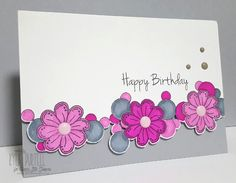 Kylie Purtell, Happy Little Stampers, Doodled Flowers, Mix Mash, Masking Technique, Fussy Cut Border, Enamel Dots, Birthday Card