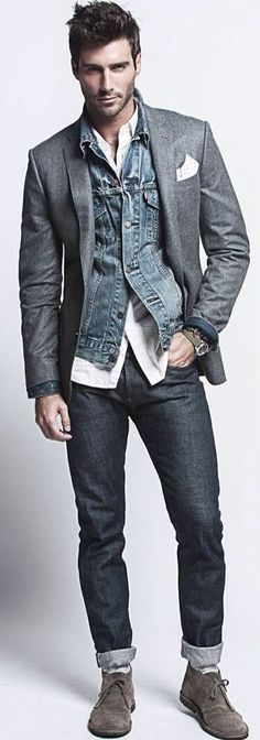 Shop this look on Lookastic: http://lookastic.com/men/looks/denim-jacket-blazer-long-sleeve-shirt-skinny-jeans-desert-boots-pocket-square-watch/11262 — Charcoal Suede Desert Boots — Navy Skinny Jeans — White Long Sleeve Shirt — Charcoal Watch — Navy Denim Jacket — Charcoal Wool Blazer — White Polka Dot Pocket Square