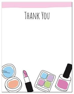 "Makeup thank you note card - hand drawn, doodle style | A2 4.25""x5.5"". A fun, flat thank you card featuring makeup doodle illustrations of a lipstick, eye shadow, nail varnish and powder. Text: Thank you. Matches the makeup doodle birthday party invitation. This flat note card would be ideal as a thank you note for a makeup or spa themed birthday party."