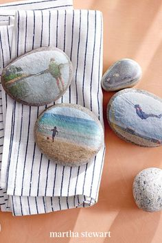 Kids can even get in on this project. Collect rocks, stones, pebbles in all shapes and sizes—then see what you can make from the assembly. Pictured here, river rocks are decoupaged with family photos (on inkjet-printer-friendly rice paper) to make sweet mementos. #marthastewart #crafts #diyideas #easycrafts #tutorials #hobby