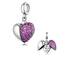 d325729ac Charmanic Purple Heart, Silver Jewellery, I love you Necklace charm, Gift  for Her, Daughter Gift, Charms for Bracelet, Delicate Jewellery