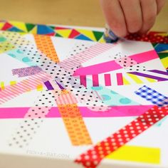 Colorful washi tape and watercolor art for kids