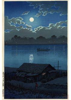 Kawase Hasui - Pleine lune sur la rivière Arakawa