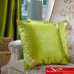 Set of Two Sari Fabric Decorative Pillow Covers (India) come in yellow