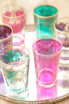 Moroccan tea time, with tea glasses. Tables Tableaux, Lohals, Lavender Room, Tea Glasses, Shot Glasses, Moroccan Style, Moroccan Decor, Persian Decor, Moroccan Kitchen