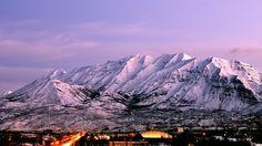 Utah mountain range at dusk